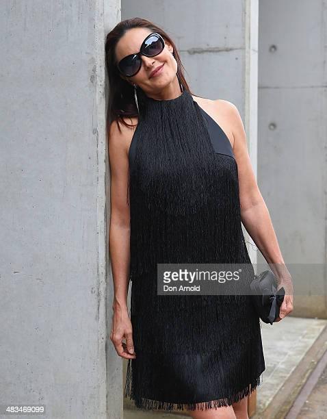 Renee Brack wears an Jayson Brunsdon dress at MercedesBenz Fashion Week Australia 2014 at Carriageworks on April 9 2014 in Sydney Australia