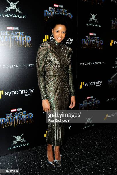 Renee Elise Goldberry attends The Cinema Society with Ravage Wines Synchrony host a screening of Marvel Studios' 'Black Panther' at The Museum of...