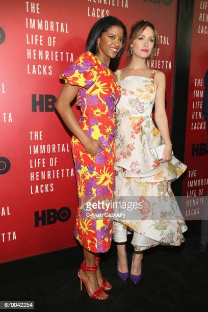 Renee Elise Goldsberry and Rose Byrne attend 'The Immortal Life Of Henrietta Lacks' New York Premiere on April 18 2017 in New York City