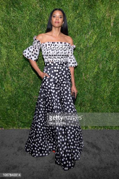 Renee Elise Goldsberry attends the CFDA / Vogue Fashion Fund 15th Anniversary Event at Brooklyn Navy Yard on November 5 2018 in Brooklyn New York