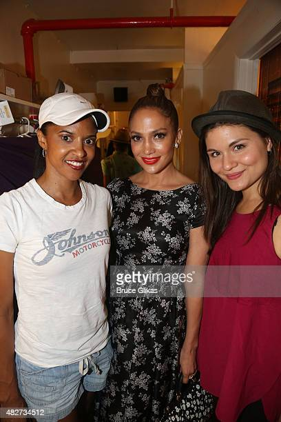 Renee Elise Goldsberry Jennifer Lopez and Phillipa Soo pose backstage at the hit new musical Hamilton on Broadway at The Richard Rogers Theater on...