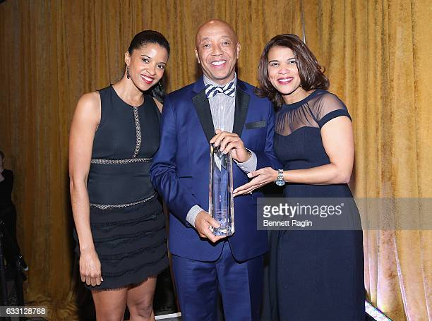 Renee Elise Goldsberry Russell Simmons and Kemba Smith pose onstage during the National CARES Mentoring Movement's 2nd Annual 'For the Love of Our...