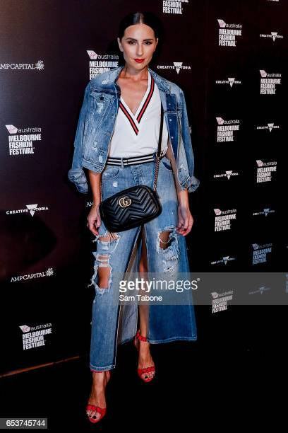 Renee Enright arrives ahead of the VAMFF 2017 Premium Runway show on March 16 2017 in Melbourne Australia