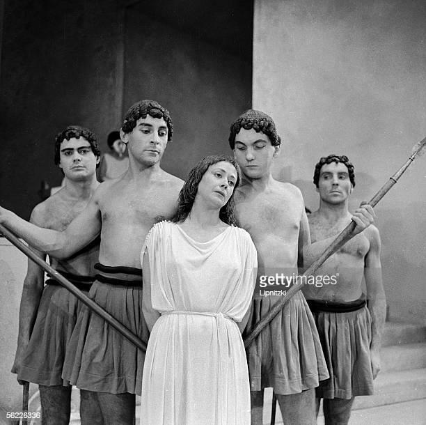 "Renee Faure in ""Antigone"" of Sophocles. Paris, Comedie-Francaise, october 1959."
