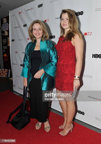 Renee Fleming and Sage Ross attend the Wynton Marsalis A YoungArts MasterClass New York Premiere at Museum of Modern Art on September 3 2013 in New...