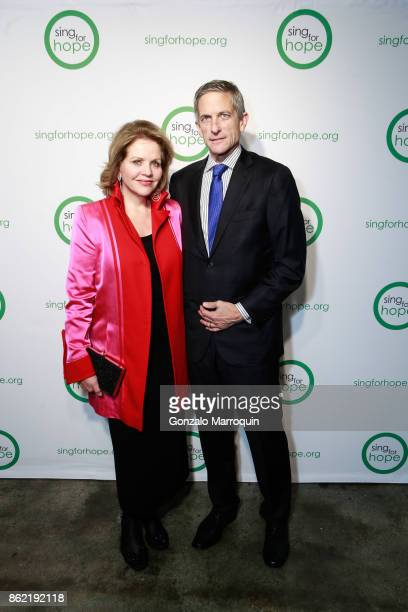 Renee Fleming and Tim Jessell during the Sing for Hope Gala 2017 at Tribeca Rooftop on October 16 2017 in New York City
