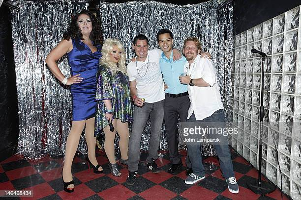 Renee Fleming Ariel Sinclair Alex Carr Marc Valitutto and guest attend Alex Carr's birthday celebration at The Stonewall Inn on June 16 2012 in New...