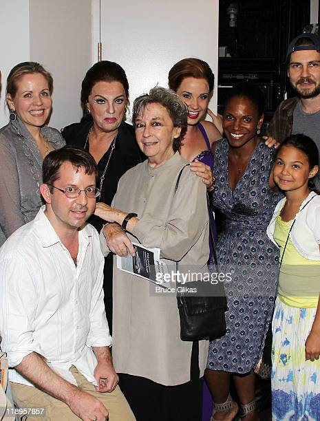 Renee Fleming David Loud Tyne Daly Zoe Caldwell Sierra Boggess and Audra McDonald daughter Zoe Madeline Donovan and Clinton Brandhagen pose backstage...