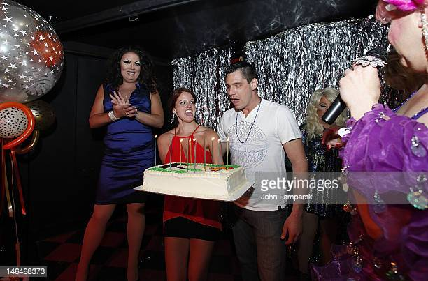 Renee Fleming Elizabeth Fazio and Alex Carr attends Alex Carr's birthday celebration at The Stonewall Inn on June 16 2012 in New York City