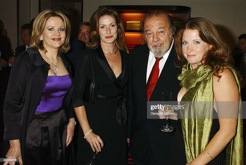 Renee Fleming, Nicola Frei, director Sir Peter Hall and Caroline Jones attend Fleming's private Asprey dinner party at Asprey's flagship store in Bond Street July 12, 2005 in London, England.