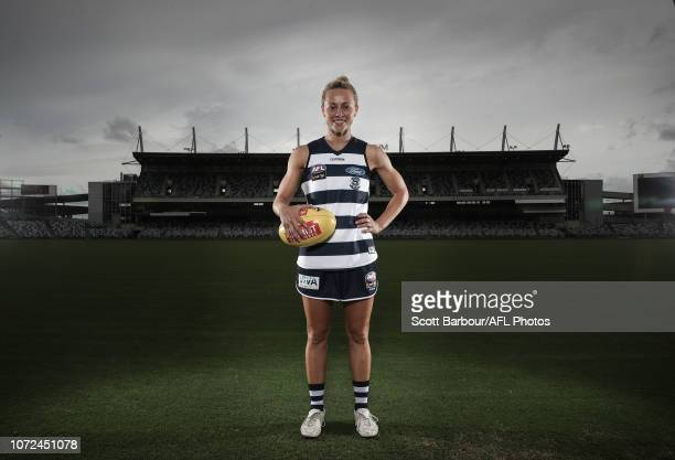 Renee Garing poses during the Geelong Cats AFLW Leadership Announcement at GMHBA Stadium on December 13 2018 in Geelong Australia