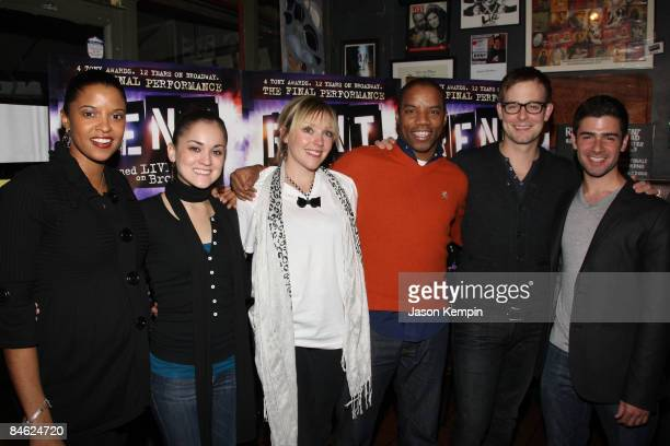 Renee Goldsberry Andrea Goss Tracy McDowell Rodney Hicks Jay Wilkison and Adam Kantor attend the 'RENT Filmed Live on Broadway' DVD release party at...