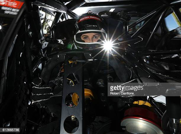 Renee Gracie of the Harvey Norman Supergirls Team poses during previews ahead of the Bathurst 1000 which is race 21 of the Supercars Championship at...