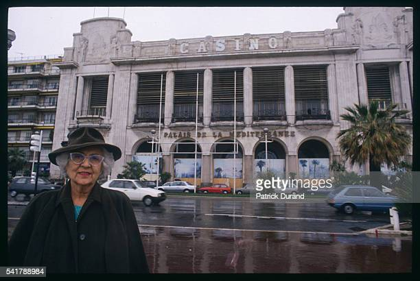 Renee Le Roux former manager of the Mediterranean Palace in front of the palace in Nice The 'Casino Wars' of the 1970s closed the former palace and...