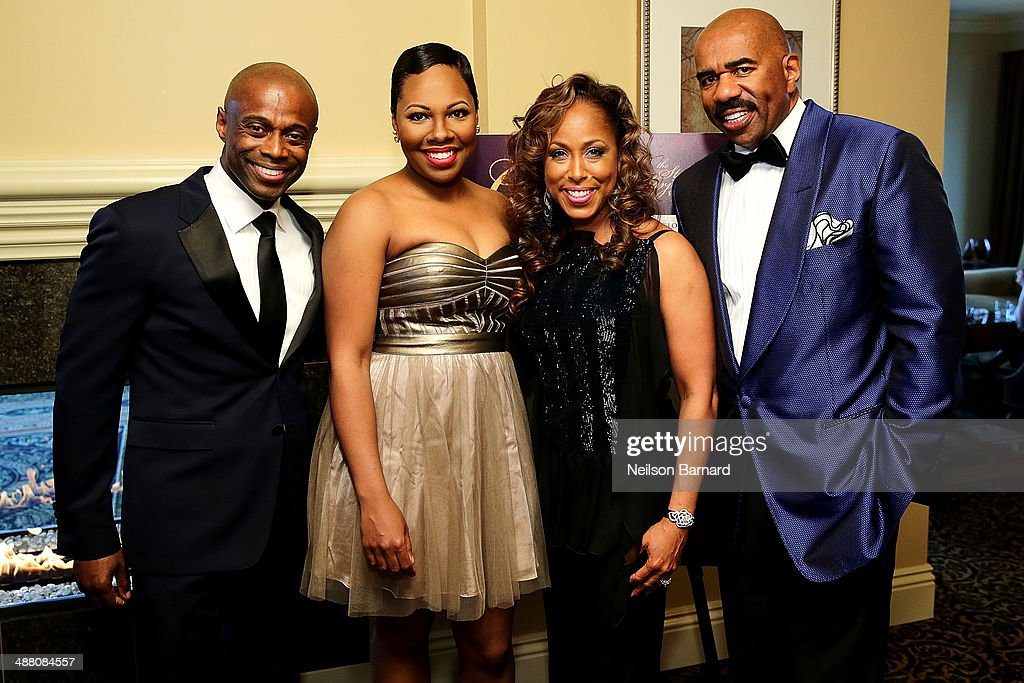 Renee, Marjorie Harvey, and Steve Harvey attend the 2014 Steve & Marjorie Harvey Foundation Gala presented by Coca-Cola VIP Reception at the Hilton Chicago on May 3, 2014 in Chicago, Illinois.