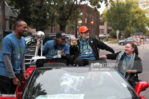 Renee Montgomery and Lindsay Whalen of the Minnesota Lynx attend the Minnesota Lynx title parade on October 5 2017 at The University of Minnesota...