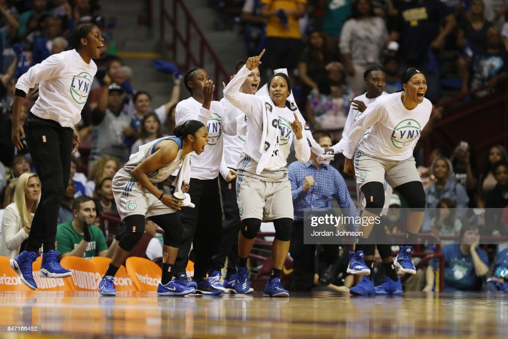 Renee Montgomery #21, Jia Perkins #7 of the Minnesota Lynx and Plenette Pierson #22 of the Minnesota Lynx react to a play during the game against the Washington Mystics in Game Two of the Semifinals during the 2017 WNBA Playoffs on September 14, 2017 at Williams Arena, University of Minnesota, in Minneapolis, Minnesota.
