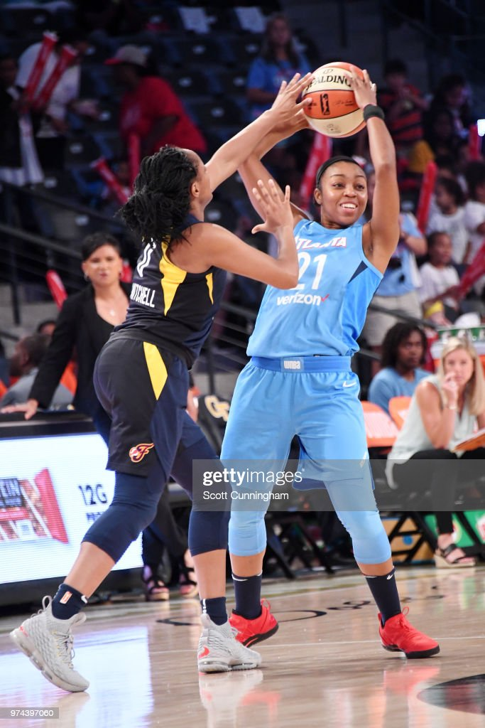 Renee Montgomery #21 of the Atlanta Dream handles the ball against the Indiana Fever on June 14, 2018 at Hank McCamish Pavilion in Atlanta, Georgia.