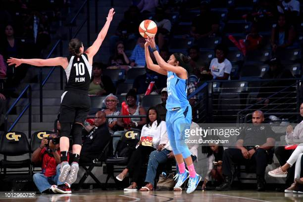 Renee Montgomery of the Atlanta Dream shoots the ball during the game against the Las Vegas Aces on August 07 2018 at McCamish Pavilion in Atlanta...