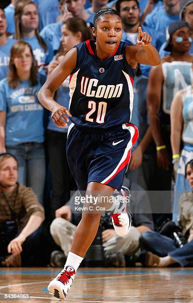 Renee Montgomery of the Connecticut Huskies reacts after a basket against the North Carolina Tar Heels during the game on January 19, 2009 at the...