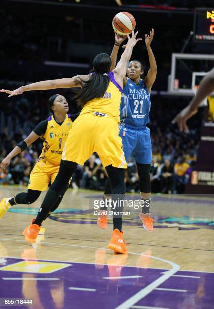 Renee Montgomery of the Minnesota Lynx shoots the ball against the Los Angeles Sparks in Game Three of the 2017 WNBA Finals on September 29 2017 at...