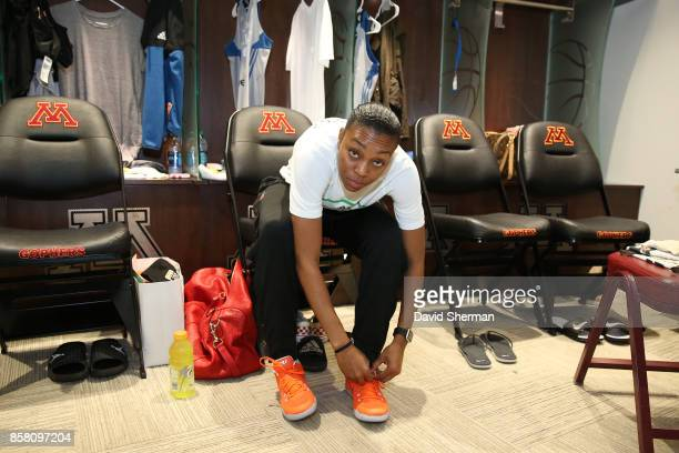 Renee Montgomery of the Minnesota Lynx ties her shoes as she gets ready before the game against the Los Angeles Sparks in Game One of the 2017 WNBA...