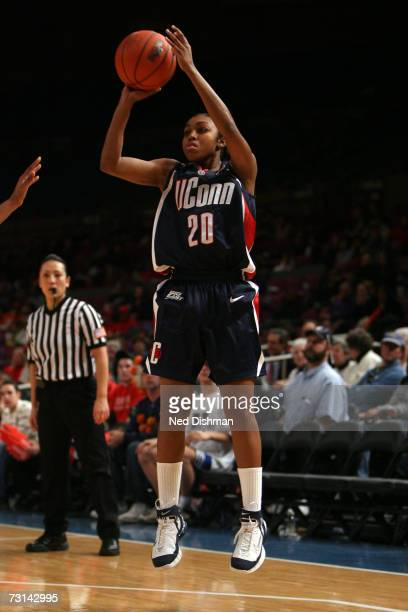 Renee Montgomery of the University of Connecticut Huskies shoots against St. John's University Red Storm at Madison Square Garden on January 21, 2007...