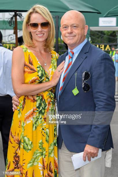 Renee O'Brien and Ross Kemp attend day eleven of the Wimbledon Tennis Championships at All England Lawn Tennis and Croquet Club on July 12 2019 in...
