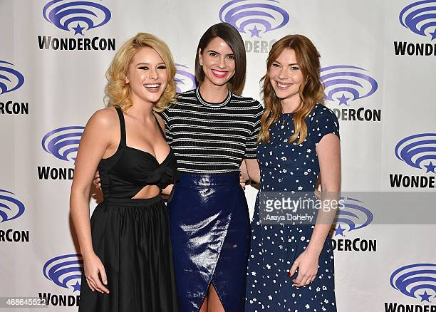 Renee Olstead Shelley Hennig and Courtney Halverson attend 'Unfriended' Cast and Filmmakers press line at Anaheim Convention Center on April 4 2015...