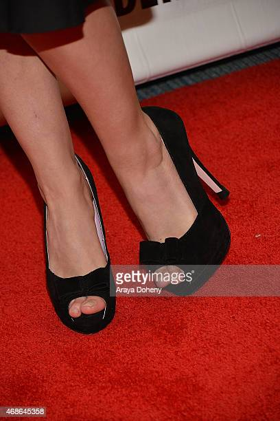 Renee Olstead shoe detail attends 'Unfriended' Cast and Filmmakers press line at Anaheim Convention Center on April 4 2015 in Anaheim California