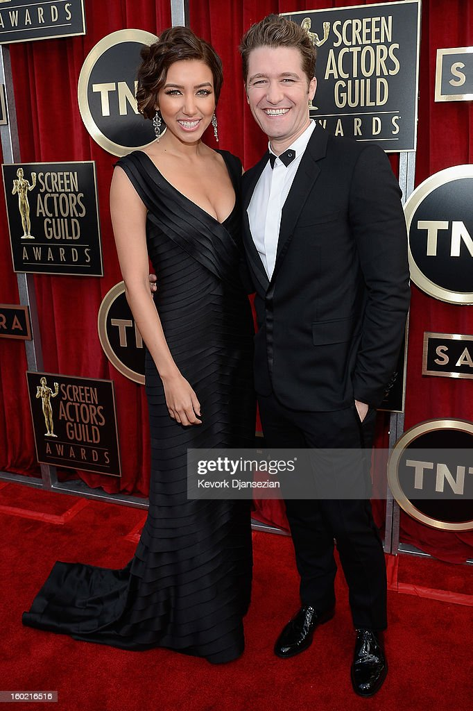 Renee Puente and Matthew Morrison arrives at the 19th Annual Screen Actors Guild Awards held at The Shrine Auditorium on January 27, 2013 in Los Angeles, California.