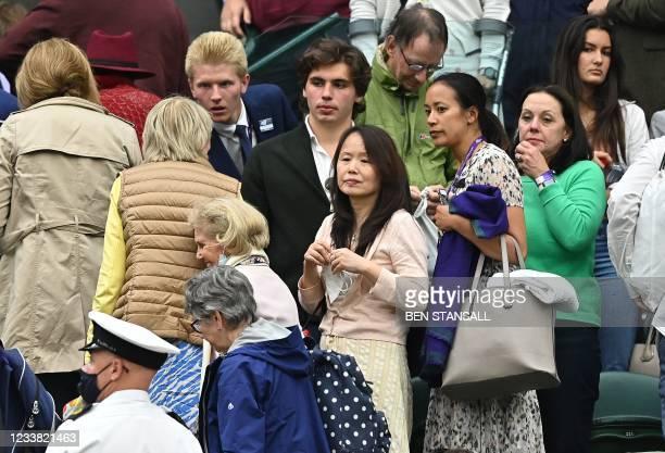 Renee Raducanu , mother of Britain's Emma Raducanu, leaves after Raducanu retired from the match against Australia's Ajla Tomljanovic at their...