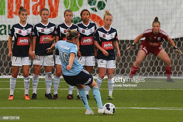 Renee Rollason of Sydney FC shoots on goal during the round four WLeague match between Sydney and Melbourne at Lambert Park on October 6 2014 in...