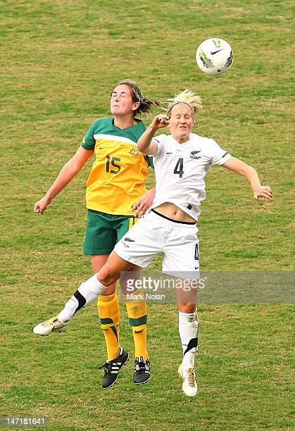 Renee Rollason of the Matildas and Katie Hoyle of New Zealand during the women's international friendly match between the Australian Matildas and New...