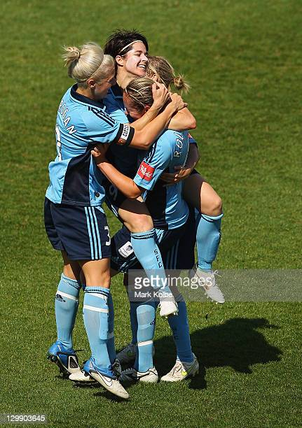 Renee Rolloson of Sydney FC celebrates with her team mates after scoring a goal during the round one W-League match between Sydney FC and Brisbane...