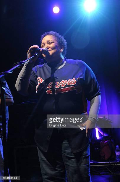 Renee Scroggins of ESG performs on stage at KOKO on January 17 2014 in London United Kingdom