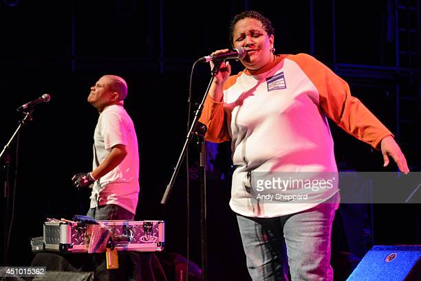 Renee Scroggins of the band ESG performs on stage for James Lavelle's Meltdown at the Queen Elizabeth Hall on June 21 2014 in London United Kingdom