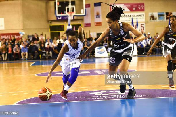 Renee Taylor of Montpellier and Marielle Amant of Villeneuve d Asq during the women's french League final match between Montpellier Lattes and...
