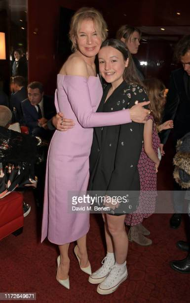 """Renee Zellweger and Bella Ramsey attend the """"Judy"""" European Premiere after party at JW Marriott Grosvenor House London, supported by Perrier-Jouet..."""