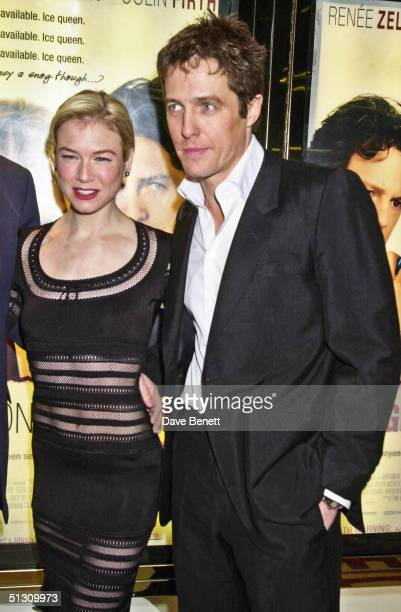"""Renee Zellweger and Hugh Grant attend the UK Premiere of """"Bridget Jones's Diary"""" at the Empire Leicester Square followed by the party at Mezzo on..."""