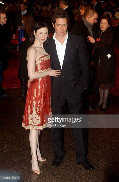Renee Zellweger and Hugh Grant during Bridget Jones the Edge of Reason Premiere Arrivals at Odeon Leicester Square in London Great Britain
