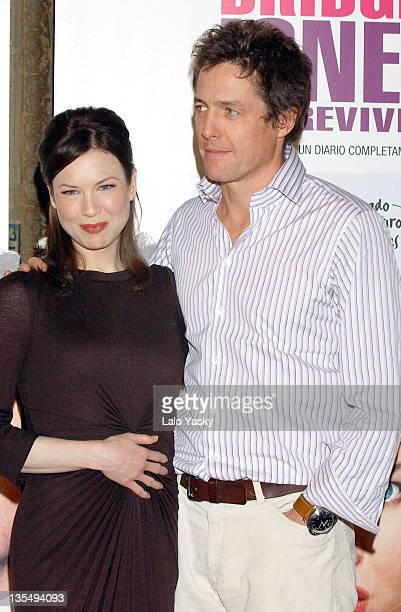 Renee Zellweger and Hugh Grant during Bridget Jones The Edge of Reason Madrid Photocall at Ritz Hotel in Madrid Spain