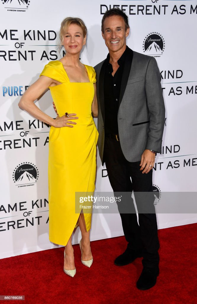 Renee Zellweger and producer Darren Moorman attend the Premiere Of Paramount Pictures And Pure Flix Entertainment's 'Same Kind Of Different As Me' at Westwood Village Theatre on October 12, 2017 in Westwood, California.