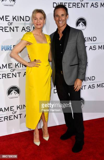 """Renee Zellweger and producer Darren Moorman attend the Premiere Of Paramount Pictures And Pure Flix Entertainment's """"Same Kind Of Different As Me"""" at..."""