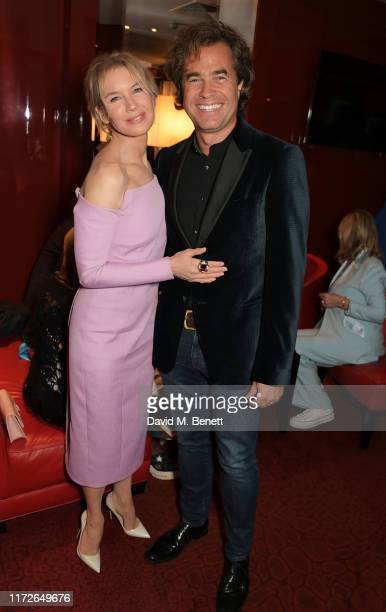 """Renee Zellweger and Rupert Goold attend the """"Judy"""" European Premiere after party at JW Marriott Grosvenor House London, supported by Perrier-Jouet..."""