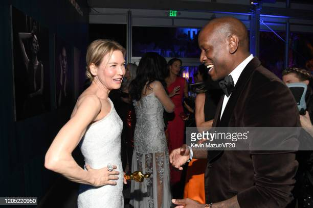 Renee Zellweger and Tyrese Gibson attend the 2020 Vanity Fair Oscar Party hosted by Radhika Jones at Wallis Annenberg Center for the Performing Arts...