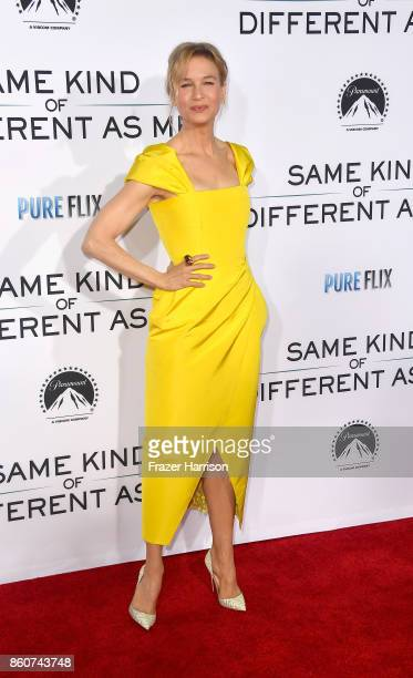 Renee Zellweger arrives at the Premiere Of Paramount Pictures And Pure Flix Entertainment's Same Kind Of Different As Me at Westwood Village Theatre...