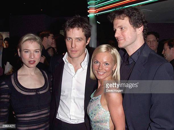 """Renee Zellweger, Hugh Grant, Geri Halliwell and Colin Firth at the party for """"Bridget Jones Diary"""" premiere at Mezzo in London on 4/4/2001. Photo by..."""