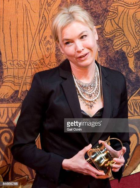 Renee Zellweger is honored as Harvard University's Hasty Pudding Club's 2009 Woman of the Year at Harvard University on February 5, 2009 in...