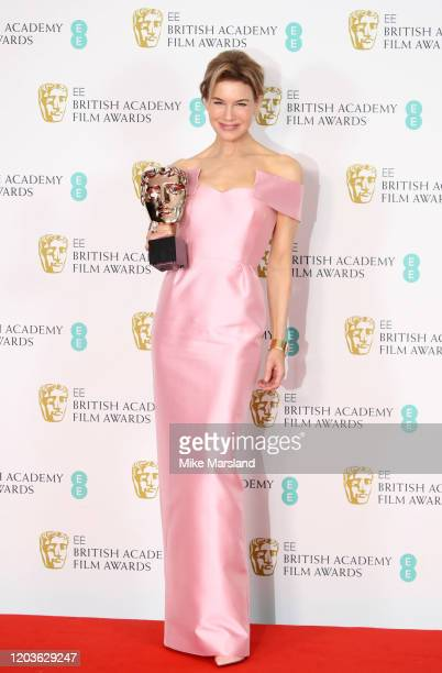 Renee Zellweger poses in the Winners Room during the EE British Academy Film Awards 2020 at Royal Albert Hall on February 02 2020 in London England